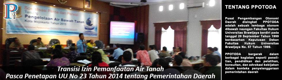 Transisi Izin Pemanfaatan Air Tanah Pasca Penetapan UU No 23 Tahun 2014 tentang Pemerintahan Daerah